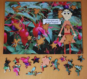 Flower Wooden Jigsaw With Fairy Pieces