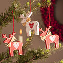 Wooden Nordic Reindeer Decoration