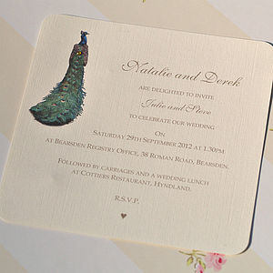 Green Peacock Wedding Personalised Invitation