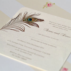 Peacock Feather Wedding Invitation - invitations