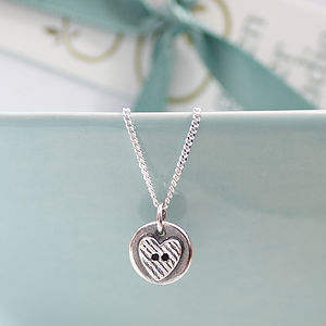 Heart Button Silver Necklace - women's jewellery