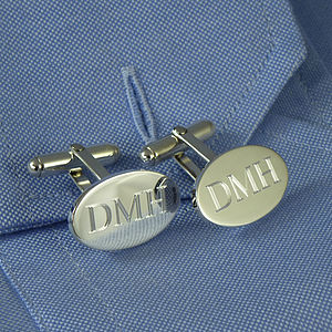 Personalised Silver Oval Hinged Cufflinks - men's accessories