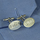 Personalised Silver Oval Hinged Cufflinks