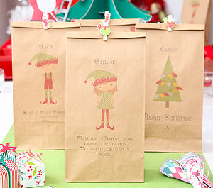 Personalised Christmas Gift Bag - ribbon & wrap