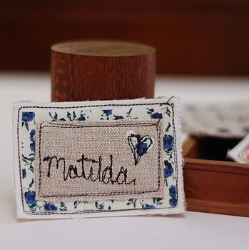 Blue Floral Name Badge
