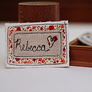 Red Floral Name Badge