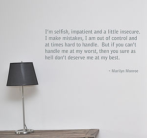 Marilyn Monroe 'I Am Selfish' Wall Sticker - home decorating