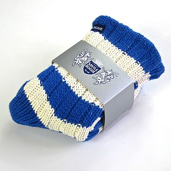 Kids' Slipper Socks: Blue And White Stripes