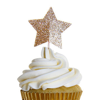 Sparkly Gold Star Cupcake Toppers