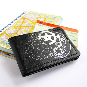 Black Steampunk Leather Travelcard Holder