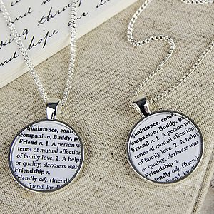 Word Definition Friend Pendant Necklace Set - necklaces & pendants