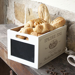 Personalise Cream French Storage Crate And Chalkboard