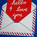 """Hello"" silkscreen print in cobalt and crimson"