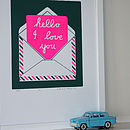 """Hello"" silkscreen print in neon pink and moss green"