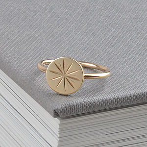 Gold Star Coin Stud Ring - 40th birthday gifts