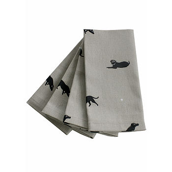 Set Of Four Labrador Napkins