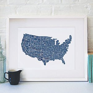 American Gastronomy Map Print - posters & prints