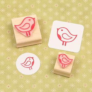 Christmas Robin Hand Carved Rubber Stamp - cards & wrap