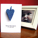 Personalised New Baby Card With Wool Heart