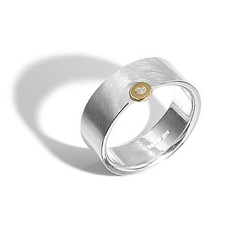 Silver And Gold Offset Diamond Ring
