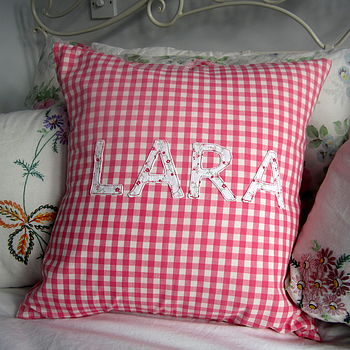 Personalised Pink Or Blue Gingham Cushion