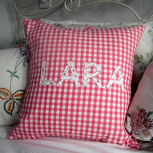 Personalised Pink Or Blue Gingham Cushion - cushions