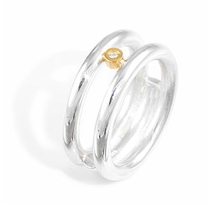 Double Band Ring With Diamond - wedding & engagement rings