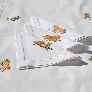 Embroidered Safari Table Runer And Napkins