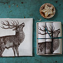 Box Of Three Stag Handkerchiefs