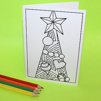 Pack Of Six Colour In Christmas Tree Cards