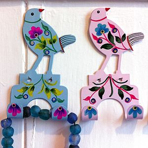 Handpainted Bird Hooks - easter home