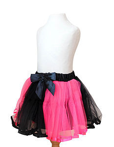 Hot Pink And Black Tutu & Hair Bow - children's parties