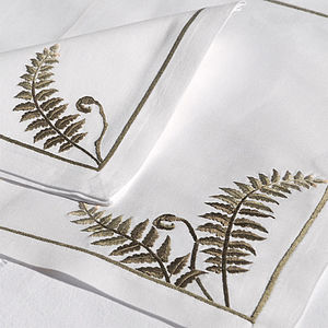 Embroidered Fern Placemat And Napkin - bed, bath & table linen