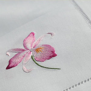 Embroidered Pink Orchid Table Runner - bed, bath & table linen