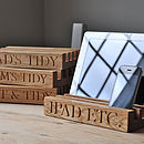 Personalised Solid Oak Desk Or Kitchen Tidy