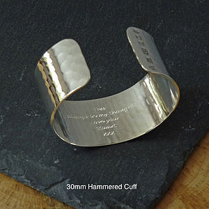 Handmade Hammered Personalised Cuff Bangle