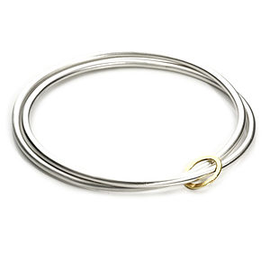 Silver And Gold Crossover Bangle