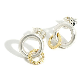 Silver And Gold Orbit Earrings