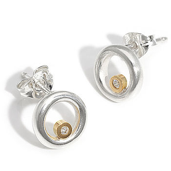 Silver And Gold Circle Diamond Earrings
