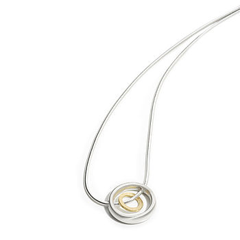 Silver And Gold Double Circle Pendant