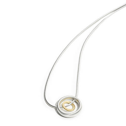Silver and gold double circle pendant by shona jewellery silver and gold double circle pendant aloadofball Images