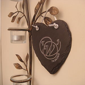 Engraved Slate Personalised Heart - room decorations