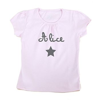 Pink Personalised Gathered Short Sleeved T Shirt With Grey Star And Printing
