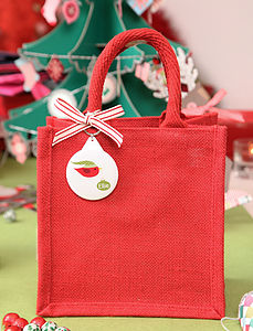Jute Christmas Personalised Bag - wrapping