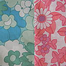 Green or pink retro flowery cotton