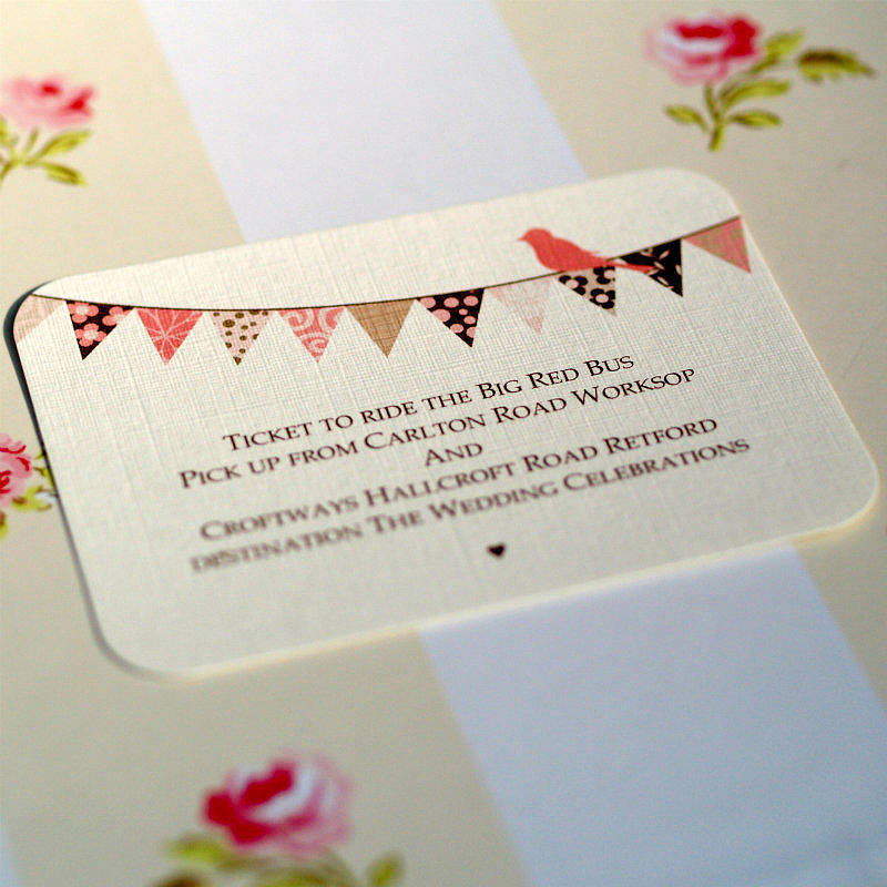 reply card with envelope insert bunting