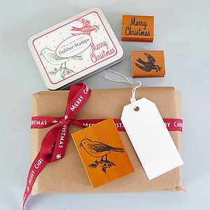 Christmas Birds Rubber Stamp Set In Tin - cards & wrap
