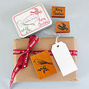 Christmas Birds Rubber Stamp Set In Tin