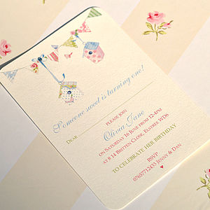 Personalised Birds House Bunting Invitation - children's parties