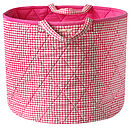 Pink Gingham Toy Storage Basket